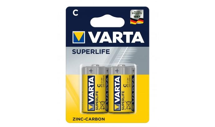 Батарейка Varta Superlife жовті С ZINC-CARBON R14 блістер 2шт 6304