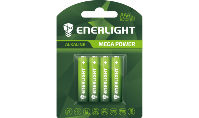 Батарейка Enerligh MegaPower зелена ААА R03 блістер 4шт