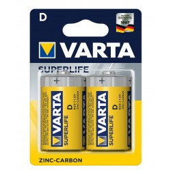 Батарейка Varta Superlife жовті D ZINC-CARBON R20 блістер 2шт 6342