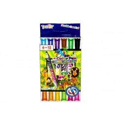 Фломастери DOUBLE двосторонні 12 кольорів - 6 шт