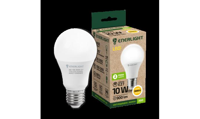 Лампа світодіодна Enerlight А60 Е27 10Вт 900Лм 3000К (тепле світло)