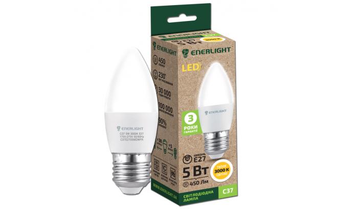 Лампа світодіодна Enerlight С37 Е27 5Вт 450Лм 3000К (тепле світло)