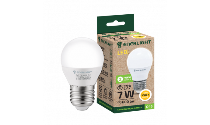Лампа світодіодна Enerlight G45 Е27 7Вт 3000К (тепле світло)