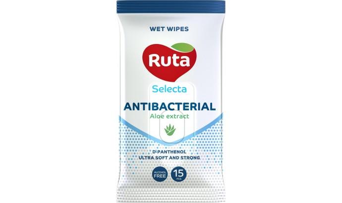 Вологі серветки Ruta Selecta Antibacterial - 15шт