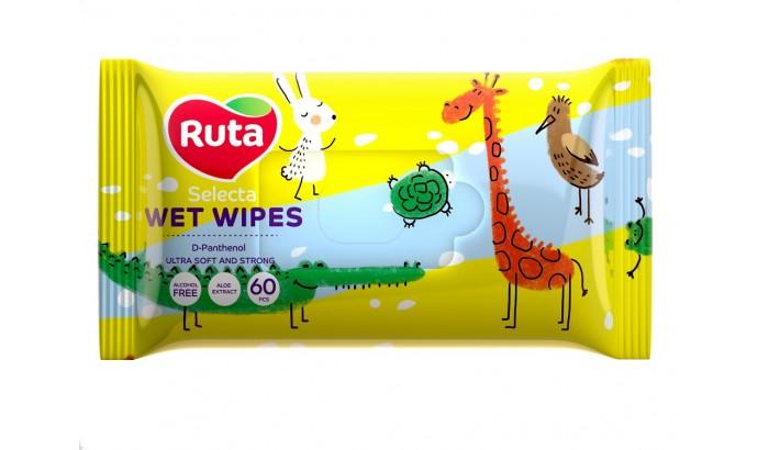 Вологі серветки Ruta Selecta Веселі звірята - 60шт